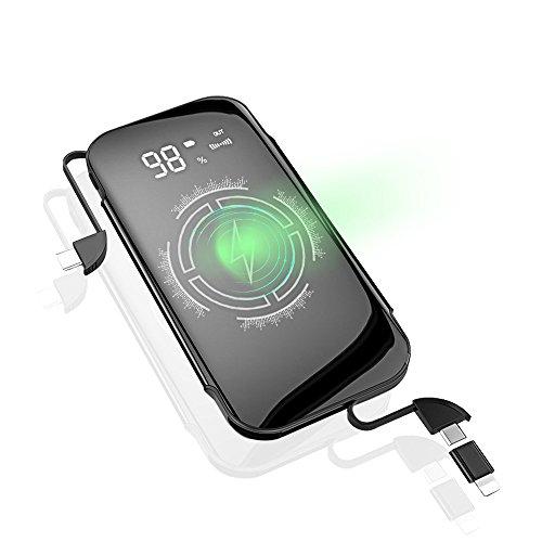 モバイルバッテリー Qi ワイヤレス充電 10000mAh 2ケーブル内蔵 大容量 軽量 薄型 急速充電 無線充電器 無線と有線 携帯バッテリー Tpye-Cポート 急速充電 残量表示 携帯バッテリー 無線と有線iPhone X/Galaxy /Sony対応