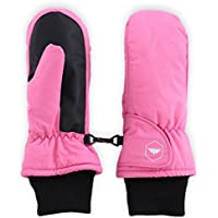 Kids Winter Snow & Ski Mittens - Youth Mitts Gloves Designed for Skiing & Snowboarding - Waterproof, Thermal Nylon Shell & Synthetic Leather Palm - Fits Toddlers, Junior Boys and Girls