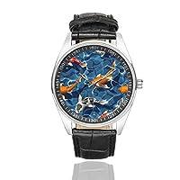 InterestPrint Koi Carps メンズファッションウォッチ ブラックレザーバンド 防水腕時計