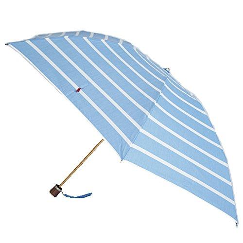 ラルフローレン 折りたたみ傘 トラッド ホワイト/ライトブルー シックストライプ ウッドハンドル