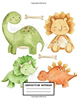 Composition Notebook: Cute Drawing Photo Art Dinosaur Soft Glossy Wide Ruled Journal with Ruled Lined Paper for Taking Notes Writing Workbook for Teens and Children Students School Kids Boys and Girls Great Gifts for Birthday Christmas Dinosaur Lovers