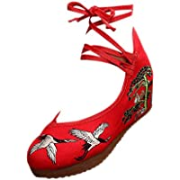 ZEVONDA Embroidered Shoes - Old Beijing Wedge Heel Shoes Lace-up Cloth Shoes
