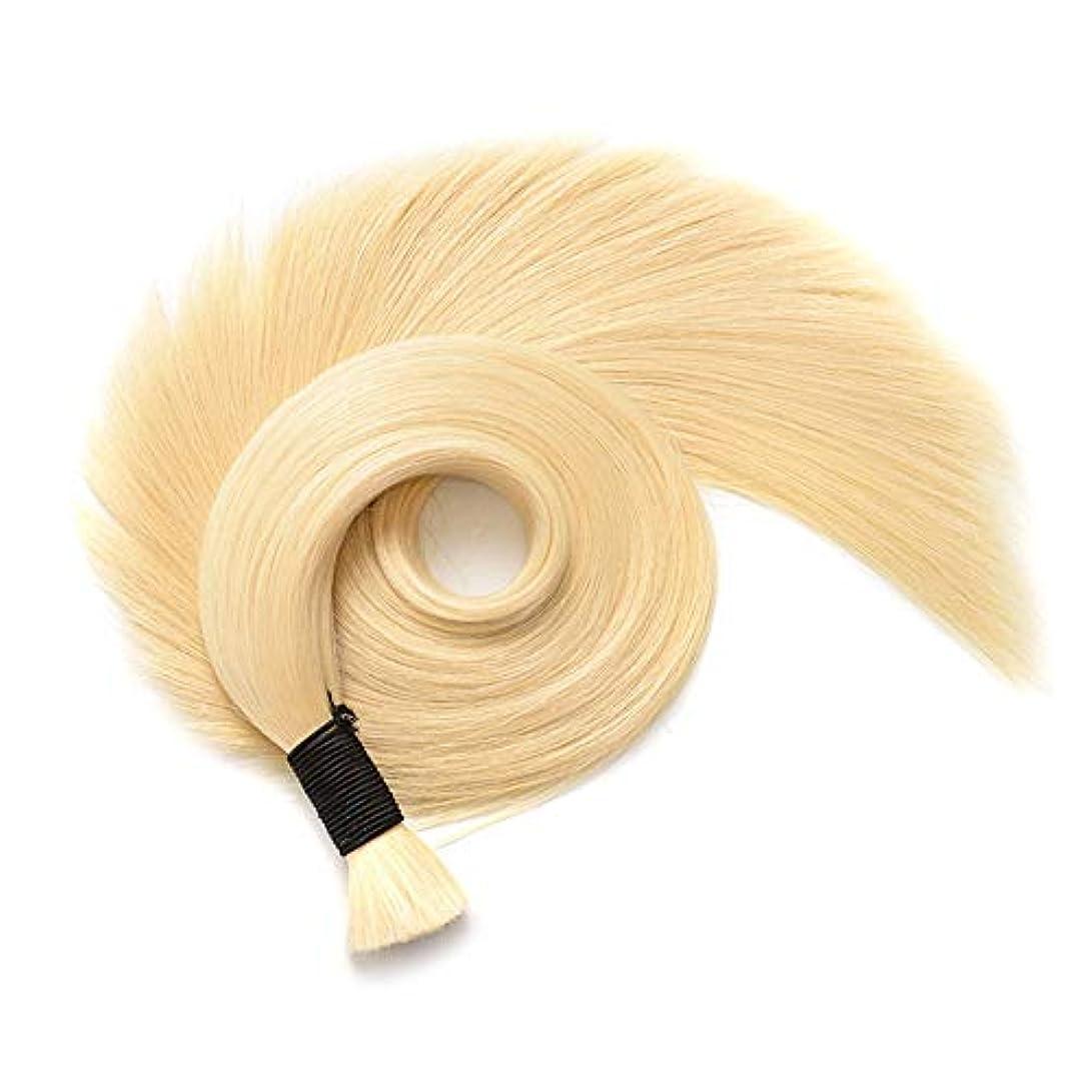 解決する作曲するディスコJULYTER 華麗なブロンドの人間の毛髪延長剤曲がりくねったナノリングヘアエクステンション50g /パッケージ (色 : 70cm)