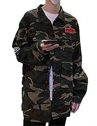 Fly Year-JP メンズファッションルーズボタンダウンカモボンバージャケットアウトウェアコート