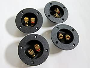 スピーカーターミナル メタルノブ 丸型 ボックスタイプ 通常配線接続/バナナプラグ対応 4個セット Vol.C