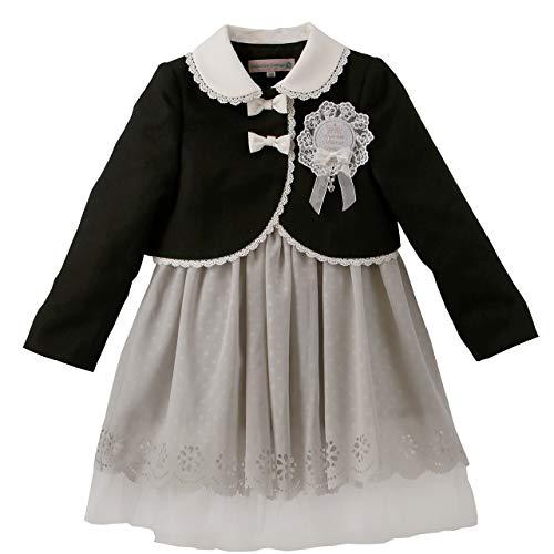 (キャサリンコテージ) Catherine Cottage子供服 子供スーツ リボンボレロとスカラップパンチングワンピース 110cm ブラック