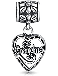 Vintage Style BFF Grandma Word Heart Dangle Charm Bead For Grandmother 925 Sterling Silver Fits European Bracelet