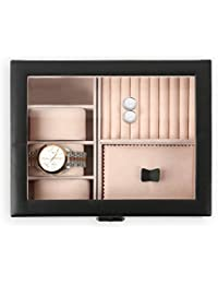Natico Watches Custom Accessories Case for Bracelets, Watches, Rings, Earrings and Cufflinks, Black (100-102403)