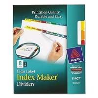 インデックスメーカーホワイトディバイダー、マルチカラー8-tab、文字、1セットとして販売、25パック、合計25セット
