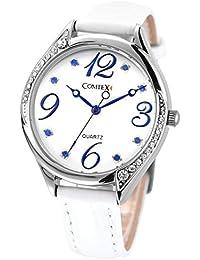 Comtex 腕時計 可愛い 青い 文字盤 ウォッチ 白い 皮革 バンド クオーツ時計 レディース
