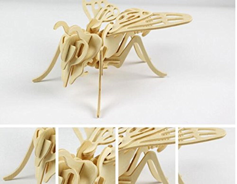 HuaQingPiJu-JP 創造的な木製3Dパズルアーリーラーニング動物玩具ファンタスティックギフト子供(ビー)