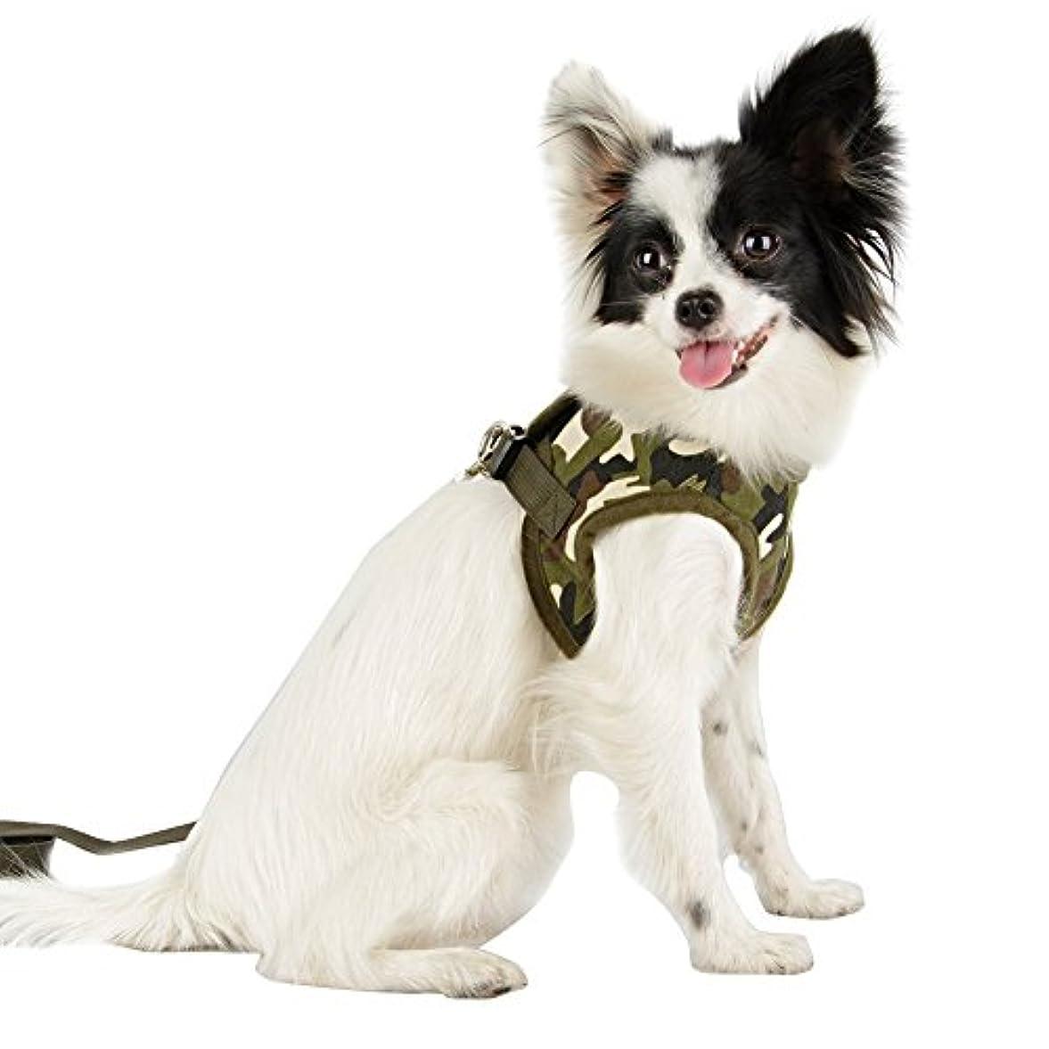 バインドに勝る余剰ペット用品 犬用 胴輪 ハーネス ポリエステル製 通気性がある 脱着防止 負担軽減 リード付き 全5色 サイズM/L/XL (M, 迷彩)