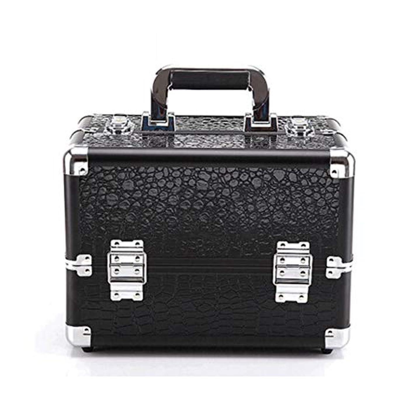 スクリューハミングバード櫛特大スペース収納ビューティーボックス 化粧トレインボックス化粧品収納ボックスは4トレイとブラシホルダーラブモードヘビーメタルショルダーストラップ(ピンク、レッド、ブラック)をロックすることができます 化粧品化粧台 (色 : Black(M))