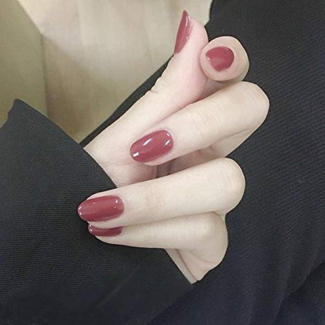 ヘビー無しビーズXUTXZKA オフィスの家のための24個の偽の爪ピンクローズオーバル人工爪のヒントステッカー