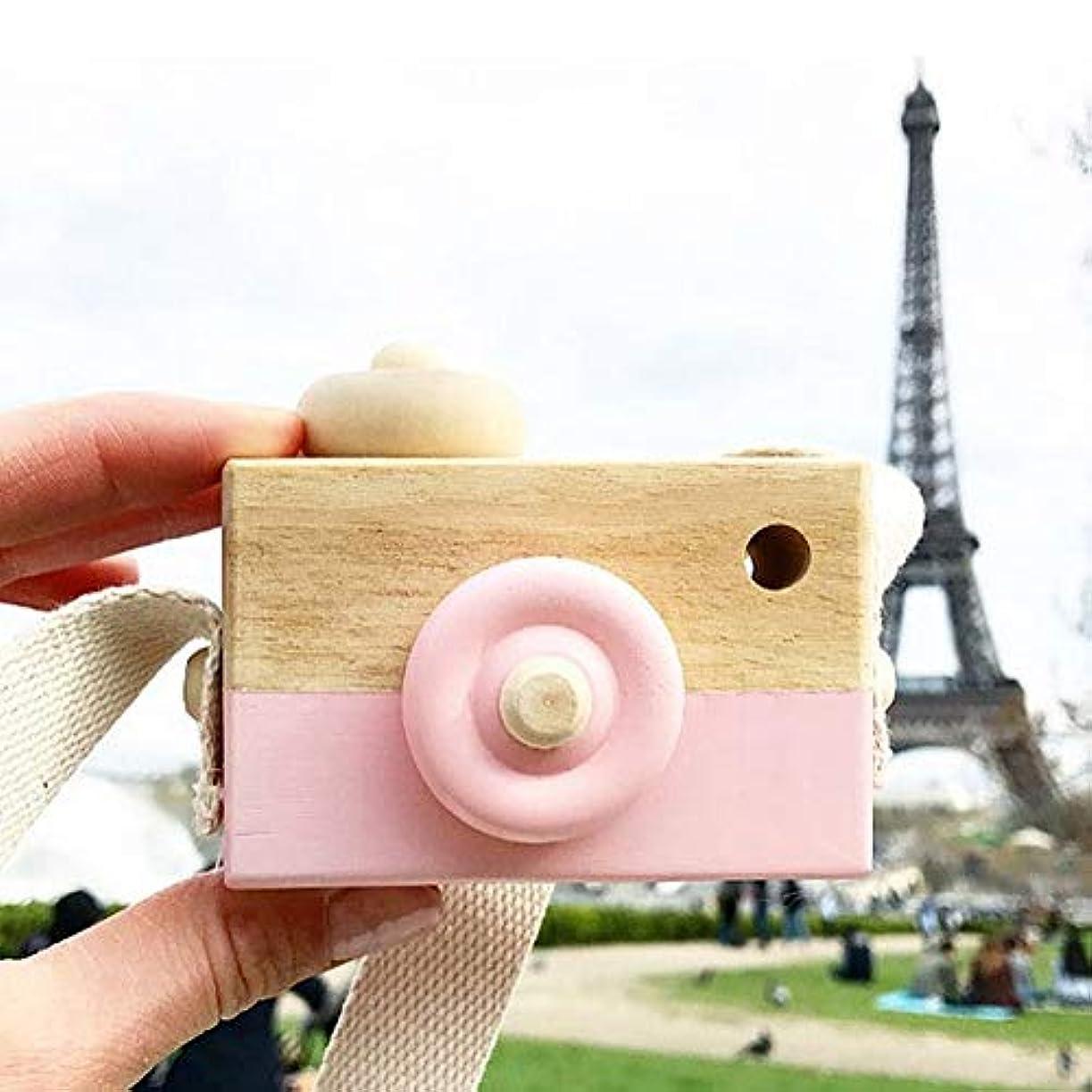 ネクタイトン盲信ミニかわいい木製カメラのおもちゃ安全なナチュラル玩具ベビーキッズファッション服アクセサリー玩具誕生日クリスマスホリデーギフト (ピンク)