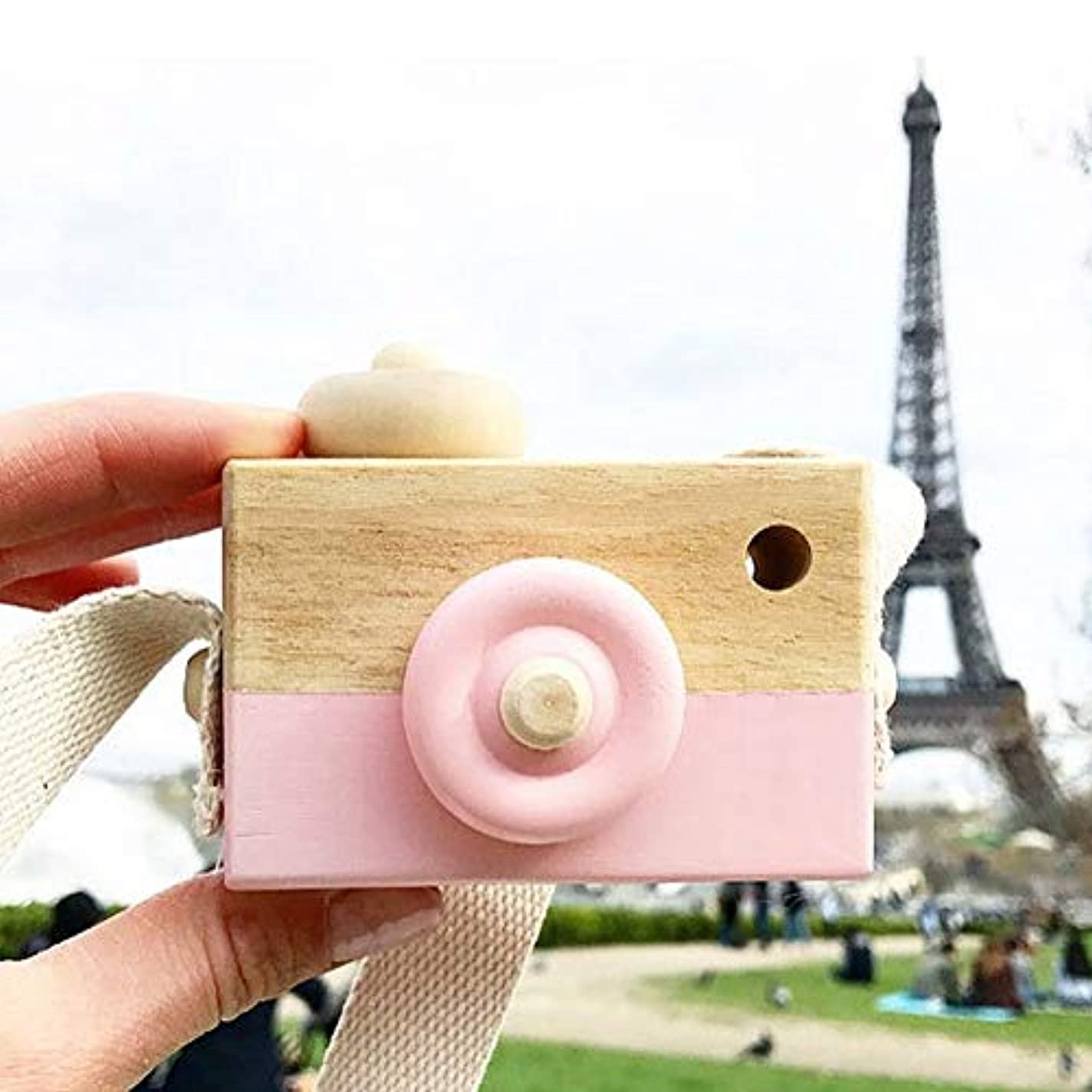 計算するアスペクト変動するミニかわいい木製カメラのおもちゃ安全なナチュラル玩具ベビーキッズファッション服アクセサリー玩具誕生日クリスマスホリデーギフト (ピンク)