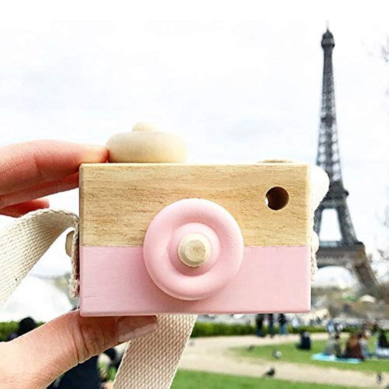 ミニかわいい木製カメラのおもちゃ安全なナチュラル玩具ベビーキッズファッション服アクセサリー玩具誕生日クリスマスホリデーギフト (ピンク)
