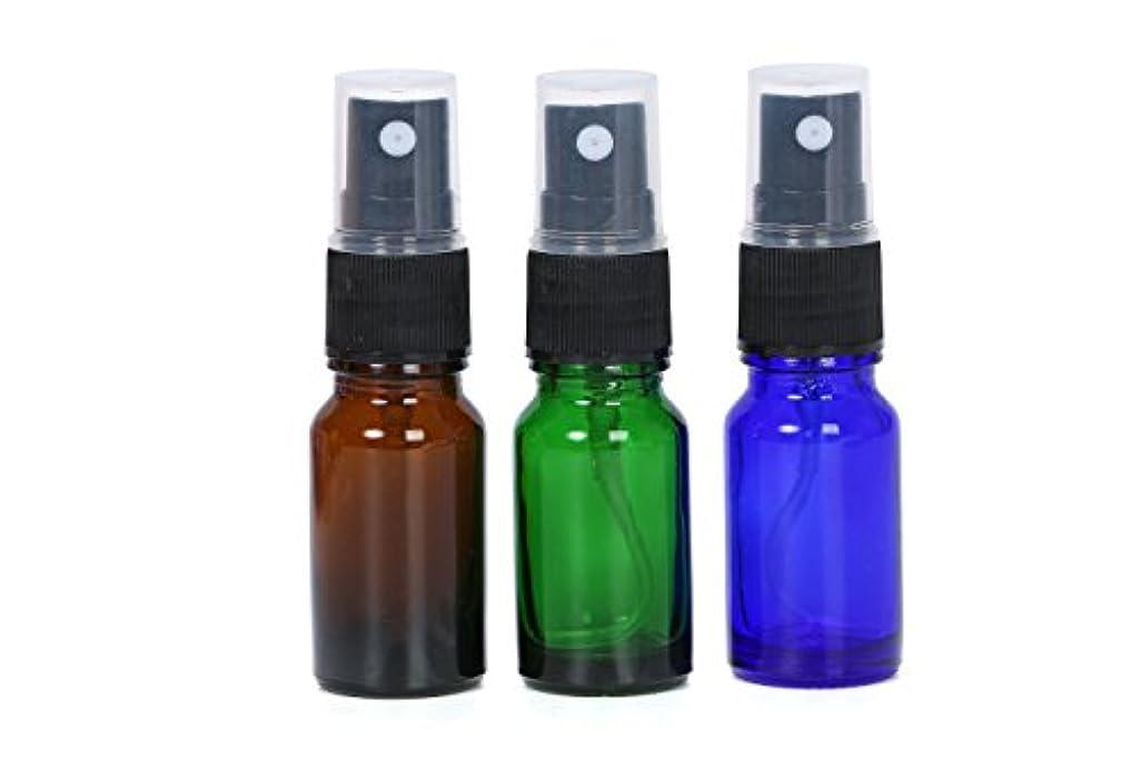抜粋コールド項目スプレーボトル 遮光瓶 3色 10ml ガラス製 オリジナルラベルシールのおまけ付き