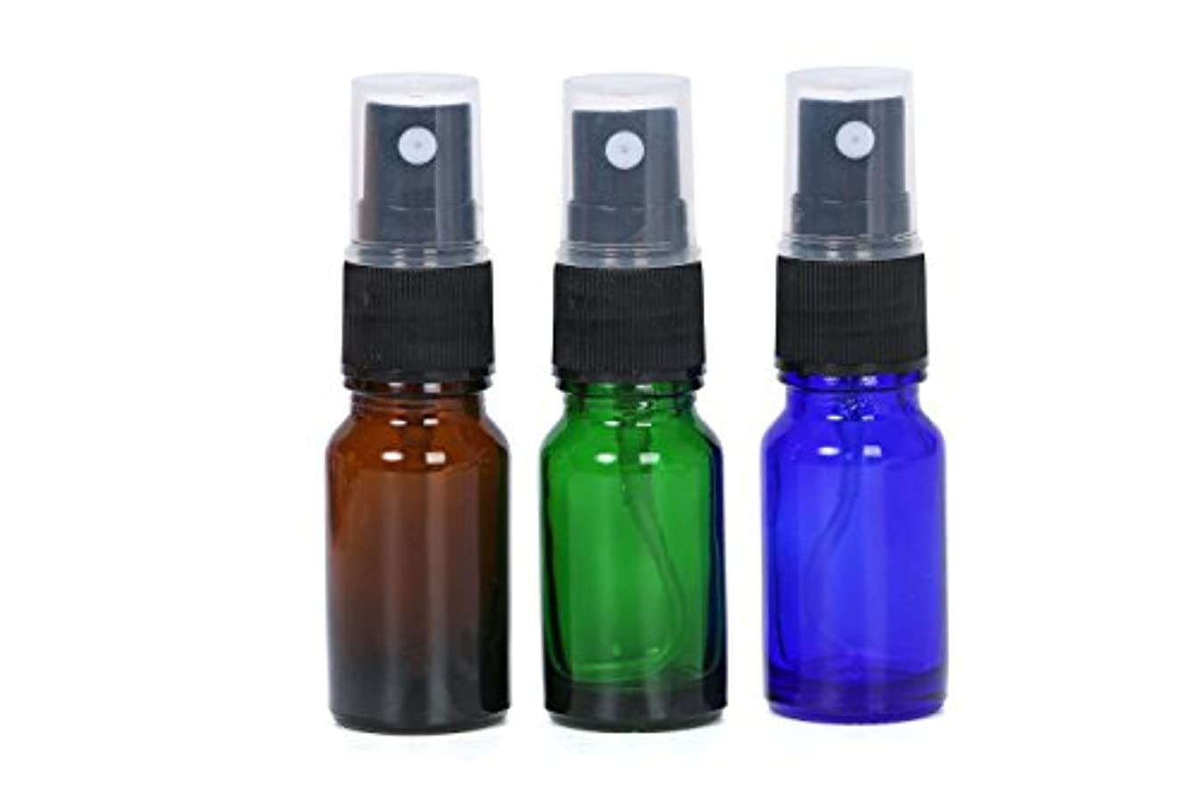 分配します出発全体にスプレーボトル 遮光瓶 3色 10ml ガラス製 オリジナルラベルシールのおまけ付き