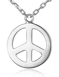 ネックレス Tinysand ネックレス 人気 シルバー 925 ピース シンボル ペンダント ラウンド ファッション ビジュー 男女兼用 純銀 ジュエリー 450mm