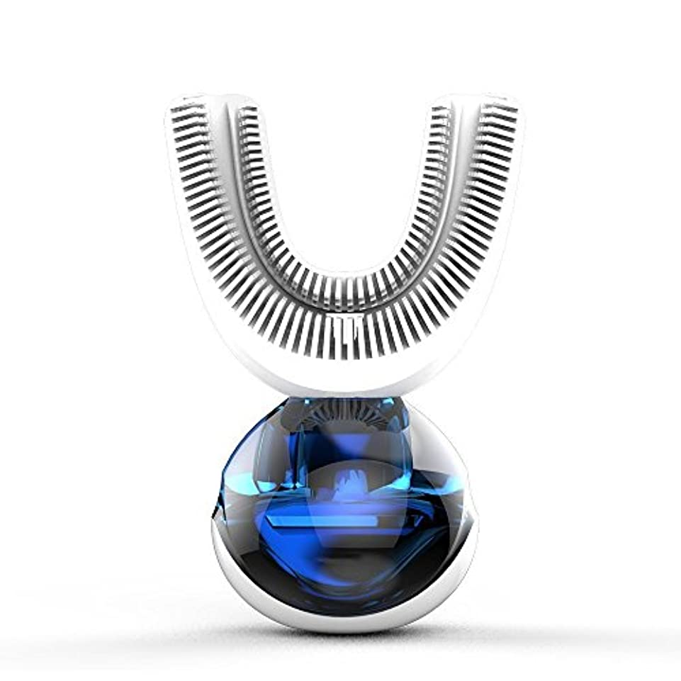 脅威拍車ボウリングフルオートマチック可変周波数電動歯ブラシ、自動360度U字型電動歯ブラシ、ワイヤレス充電IPX7防水自動歯ブラシ(大人用)