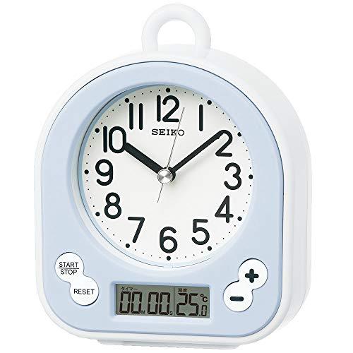 セイコー クロック 掛け時計 置き時計 兼用 生活防水 タイマー 温度 表示 アナログ キッチン&バス 薄青 BZ358L SEIKO