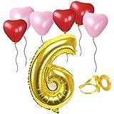 誕生日パーティー ハート型風船  飾り付け ゴールド 数字(6) 天然ゴム 風船セット(h1-f06)