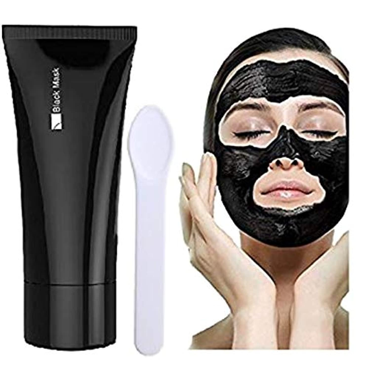 大胆ドライママBlackhead Remover Mask, Black Forest Spa-Peel Off Black Head Acne Treatments,Face Cleaning Mask+Spoon