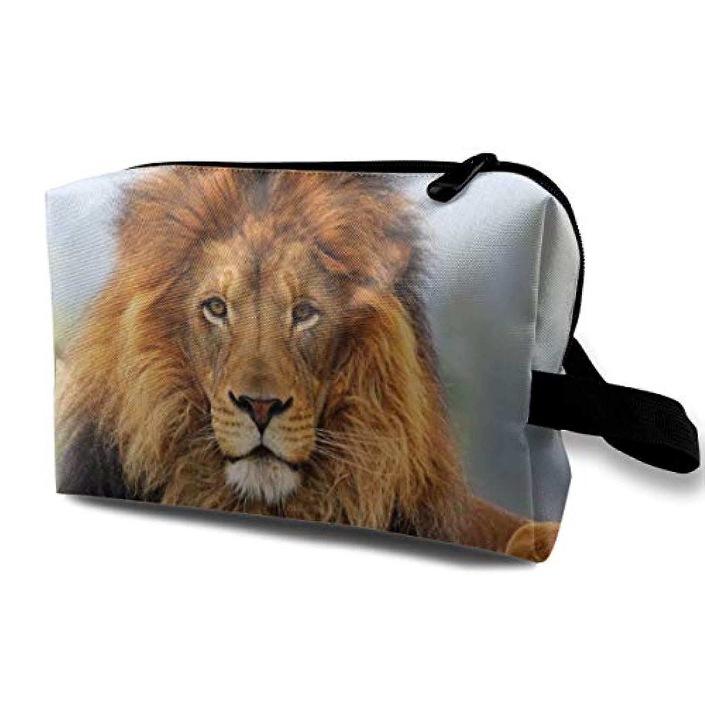 マーカーの配列複雑でないAuthentical Lion Head Wild Animl 収納ポーチ 化粧ポーチ 大容量 軽量 耐久性 ハンドル付持ち運び便利。入れ 自宅?出張?旅行?アウトドア撮影などに対応。メンズ レディース トラベルグッズ