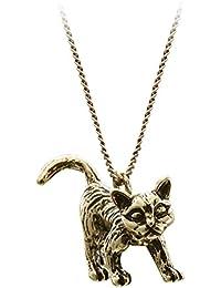 SenFai 3D立ってる猫 ペンダント ネックレス 真金メッキ メンズ アクセサリー ジュエリー