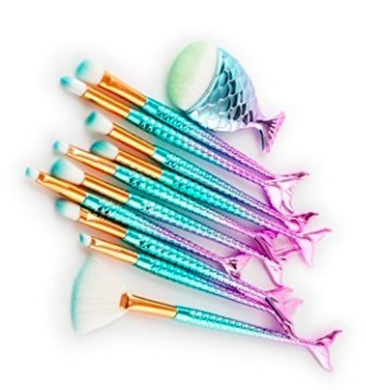 ウォルターカニンガムシロナガスクジラアデレードSYNC マーメイドブラシ メイクアップブラシ 10+1 11本セット 極細毛 フェイスケア ナイロン製 化粧筆