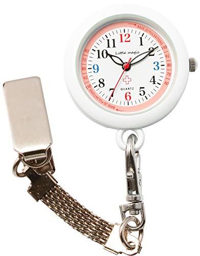【リトルマジック】3種のチェーン ナースウォッチ 蓄光 3気圧 防水 逆さ文字盤 時計 クリップ キーホルダー...