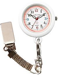 【リトルマジック】[ 自分で電池交換可 ] 3種のチェーン ナースウォッチ [ 日本製ムーブメント] [ 電池容量最長3年] [ 3気圧 防水 ] [ 蓄光 ] シンプル 懐中時計 時計 看護師 男女兼用 (便利チェーン2種+リール付き)(ピンク NS30)