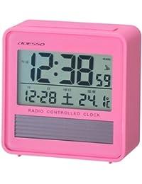 ADESSO(アデッソ) 電波デジタル目覚まし時計 ソーラーパワー 温度計付き ピンク C-8367PK