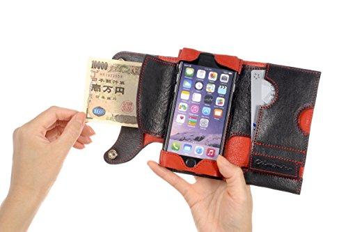 カード入れ、札入れ、小銭入れ付き多機能iPhoneケース(iPhone6、6S用)左手用【意匠登録済...