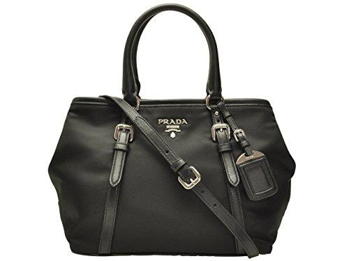 (プラダ) PRADA バッグ BAG 2wayトートバッグ ブラック ナイロン レザー 1ba841tessof-nero ブランド 並行輸入品