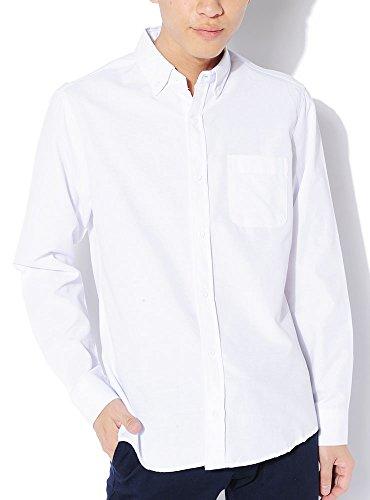 ホワイト:無地ボタン:長袖 L (ベストマート)BestMart 選べるボタンタイプ カラー ノーマル ボタン 無地 オックスフォード 長袖 シャツ メンズ ボタンダウン オックス オックスシャツ 白シャツ フォーマル Yシャツ カッターシャツ カラーシャツ 619934-006-201