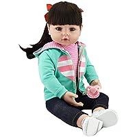 ピンキーLovely 22インチ55 cmソフトシリコン赤ちゃん人形ブラックロングヘアReborn Baby Girl Realistic Looking Real Newborn Doll幼児おもちゃを子供誕生日プレゼント