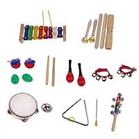 Baosity 1セット カスタネット タンバリン マラカ 木琴 サウンドチューブ 楽器おもちゃ キッズ ミュージカルおもちゃ