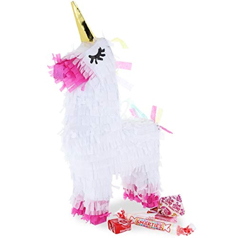 Mini Unicorn Pinata Set - Miniature White Unicorn Pinata for Birthdays, Magical Fantasy Princess Themed Parties, Includes 50 Grammes Multicoloured Confetti, 5 x 26cm x 5.1cm
