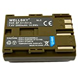 [WELLSKY] Canon キヤノン BP-511 / BP-512 / BP-511A / BP-514 互換バッテリー [ 純正品と同じよう使用可能 純正充電器で充電可能 残量表示可能 ] イオス EOS 5D / EOS 50D / EOS 10D / EOS 20D / EOS 20Da / EOS D30 / EOS 30D / EOS 40D / EOS-D60
