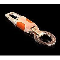 高級感漂うダブルリング Wリング式 DOS キーホルダー 高機能 カラビナフック オシャレ デザイン 車 家 鍵 (ブラウン)