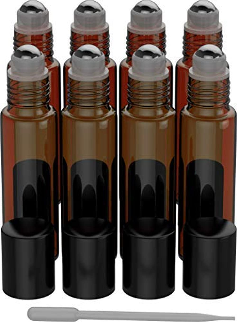 マトン同行反抗8 Pack - Essential Oil Roller Bottles [Metal Chrome Roller Ball] FREE Plastic Pippette Refillable Glass Color...