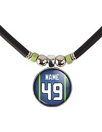 Seattleネックレスあなたの名前と番号シアトルガラスペンダントネックレスjewelry-カスタムシアトルフットボールジャージーガラスチャームネックレス