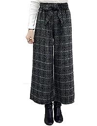 [コウサ] ガウチョ パンツ ロング ワイド リボン ウエストゴム フレア ズボン ボトムス レディース ファッション 秋 冬