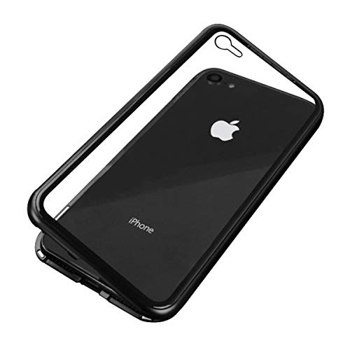LUPHIE ルフィ iPhone8 ケース iPhone7 ケース マグネティック バンパーケース 背面ガラス 9H強化ガラス (iPhone8 / 7, ブラック×クリア)