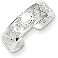 Lex & Lu Sterling Silver Fancy CZ Toe Ring