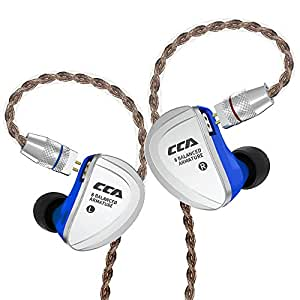 CCA C16 イヤモニ型 イヤホン 3Dステレオサウンド Hi-Fi高音質 イヤホン 片側 高精度のバランスド・アーマチュアドライバー8基を搭載 カナル型 イヤホン 高遮音性 音源と相性がよく リケーブル 可能【合金フェイスプレート搭載、ハイレゾに対応上位機種】 (ブルー・マイクなし)