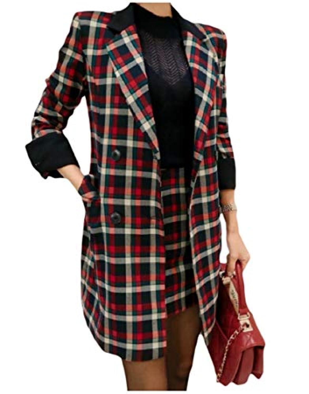 cheelot 女性ノッチラペルファッションワンボタンチェックスカートジャケットスーツセット