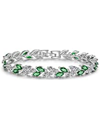"CARSINEL 2PCS White Gold Plated Multicolor Cz Leaf Shape Bracelet Crystal Wedding Jewelry for Women Girls 6.7"""